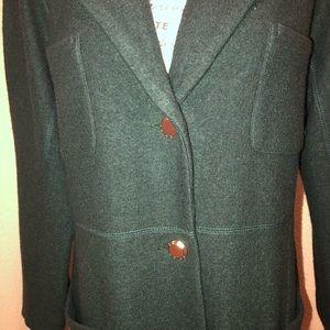 DKNY Hunter Green long topper Jacket Size 16